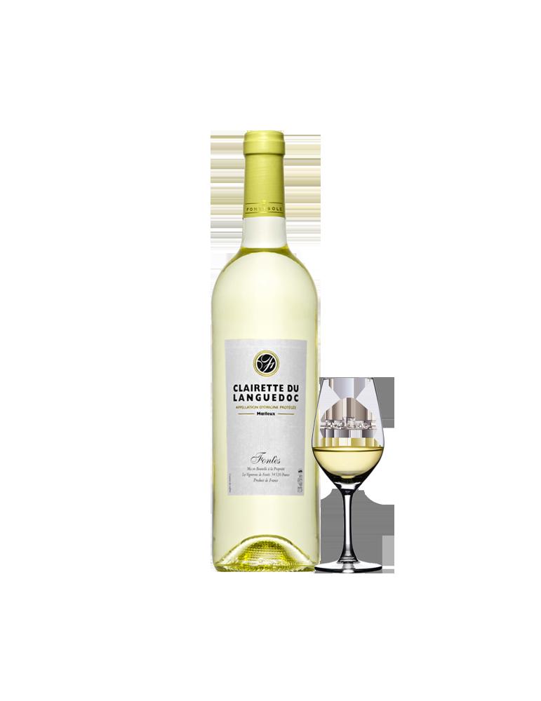 Clairette du Languedoc, Vin AOP Blanc mœlleux, Cave Coopérative La Fontesole des Vignerons de Fontès